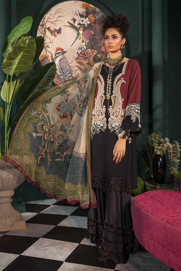 Pakistani designer linen outfit digitally printed in black color