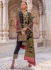 Pakistani designer net embroidered outfit in black color # P2342