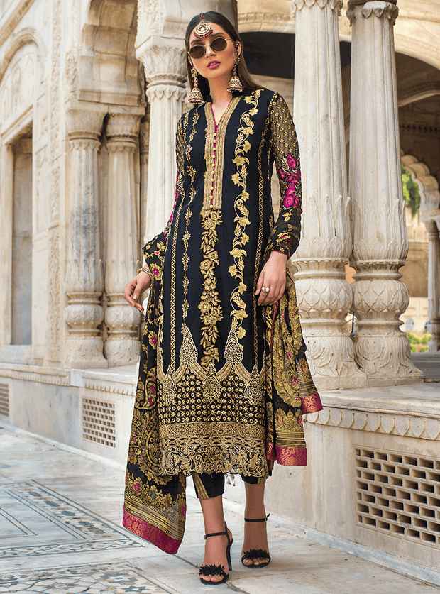 Pakistani designer net embroidered outfit in black color