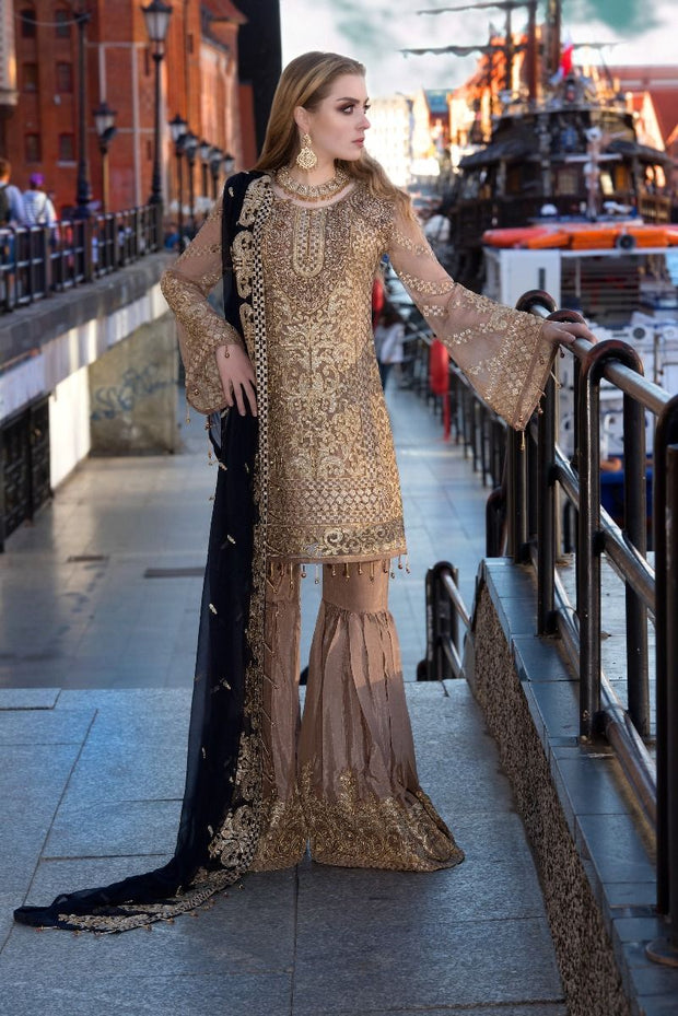 Pakistani designer sequins embroidered outfit in brown color # P2311