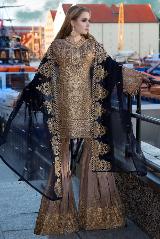 Pakistani designer sequins embroidered outfit in brown color