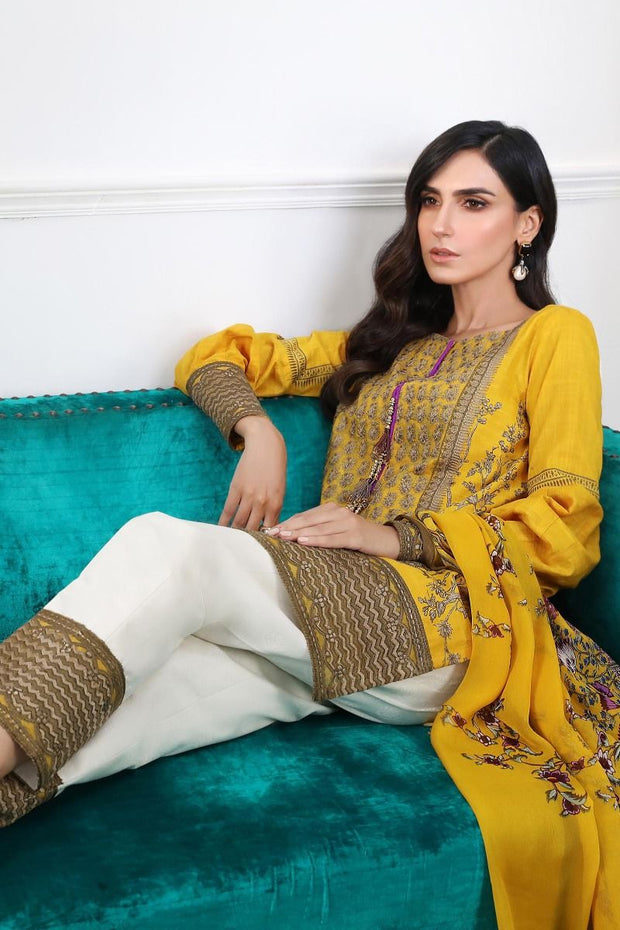 Pakistani designer slub dress for casual wear in mustard color # P2395