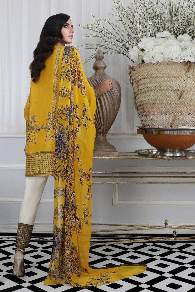 Pakistani designer slub dress for casual wear in mustard color
