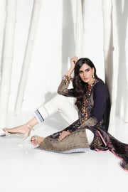 Pakistani designer slub outfit for casual wear in black color # P2396