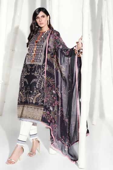 Pakistani designer slub outfit for casual wear in black color