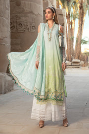 Pakistani embroidered designer eid dress in blue and green color