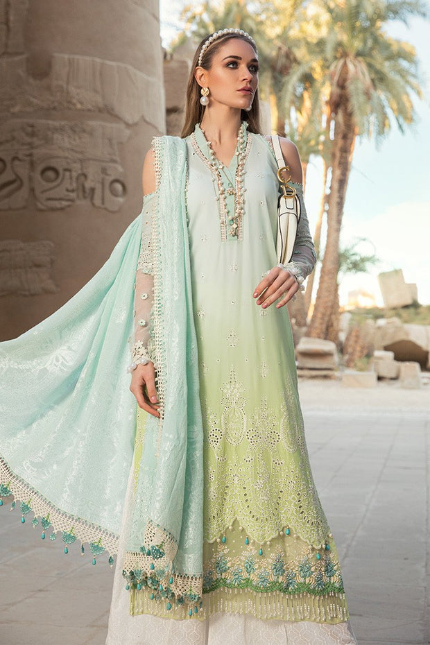Pakistani embroidered designer eid dress in blue and green color # E2204