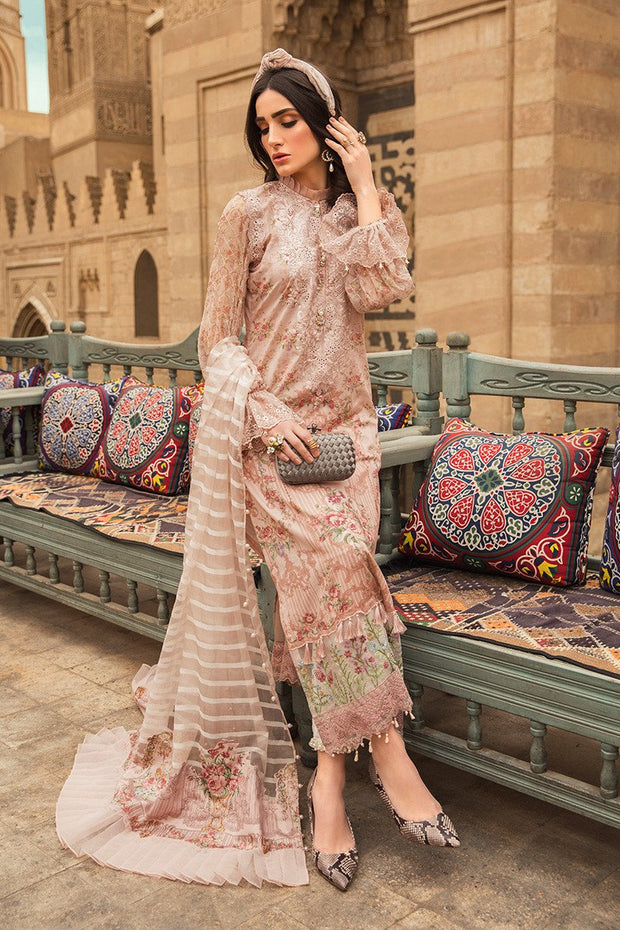 Pakistani embroidered designer eid outfit in lavish peach color # E2205