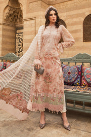 Pakistani embroidered designer eid outfit in lavish peach color