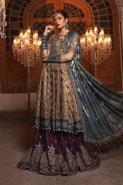 Stylish Indian wedding dress in metalic brown and teal color