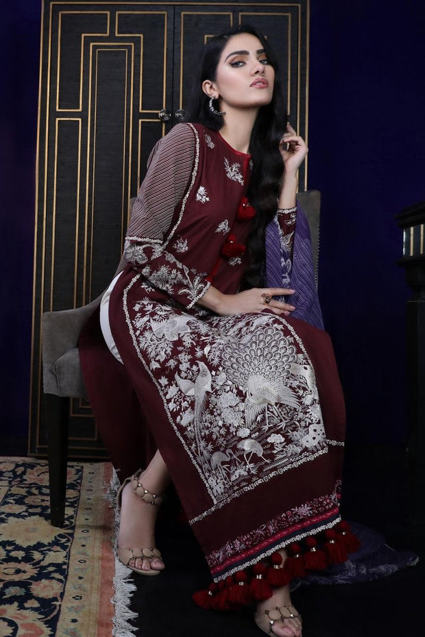 Pakistani dobby woven outfit for casual wear in maroon color # P2389