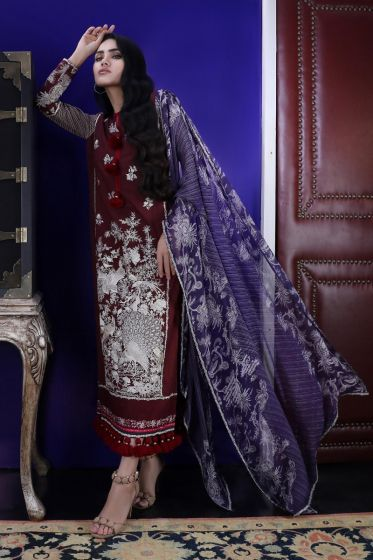 Pakistani dobby woven outfit for casual wear in maroon color