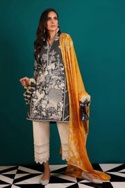 Alluring Pakistani dobby woven dress for casual wear in black color
