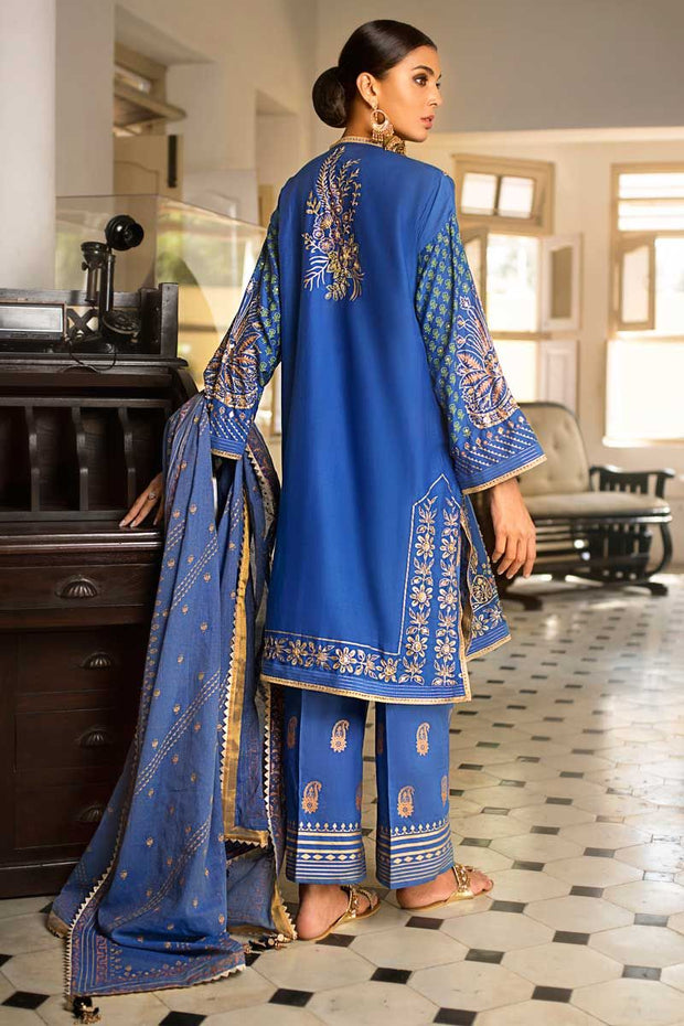 Elegant eid dress by Pakistani designer in royal blue color # P2220