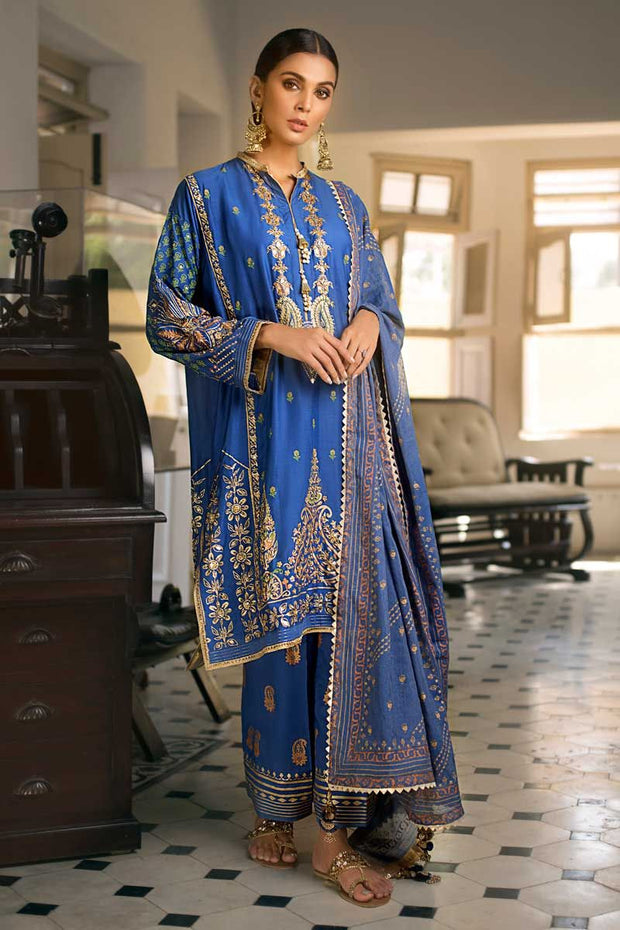 Elegant eid dress by Pakistani designer in royal blue color