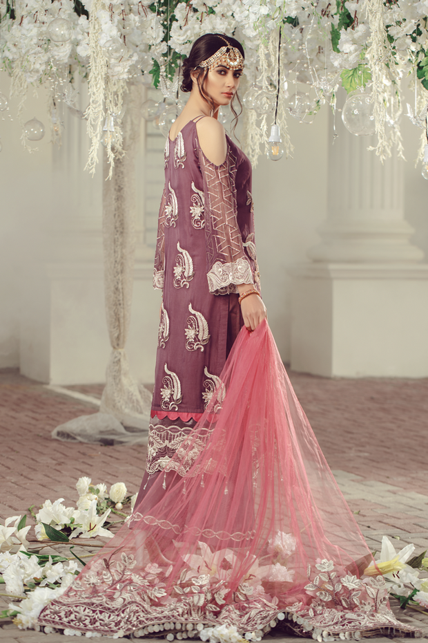 Pakistani Chiffon embroidered eid formal outfit in plum color # P2498