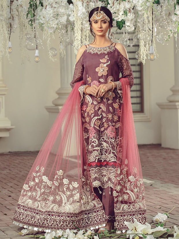Pakistani Chiffon embroidered eid formal outfit in plum color