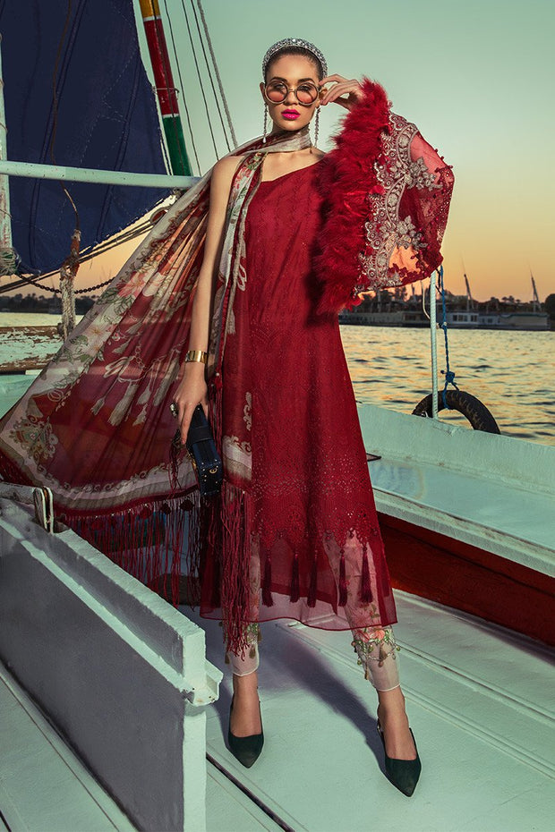 Latest Pakistani designer eid embroidered outfit in lavish red color