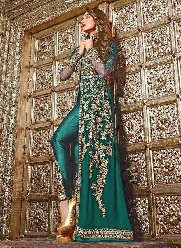 Beautiful embroidered Arabic bridal dress in sea green color