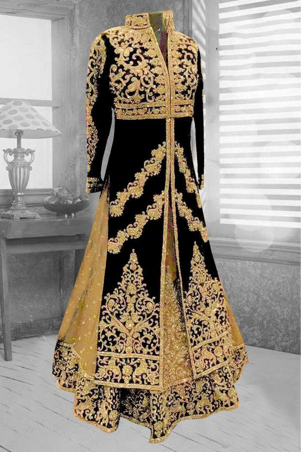 Latest embroidered Arabic bridal outfit in black and gold color