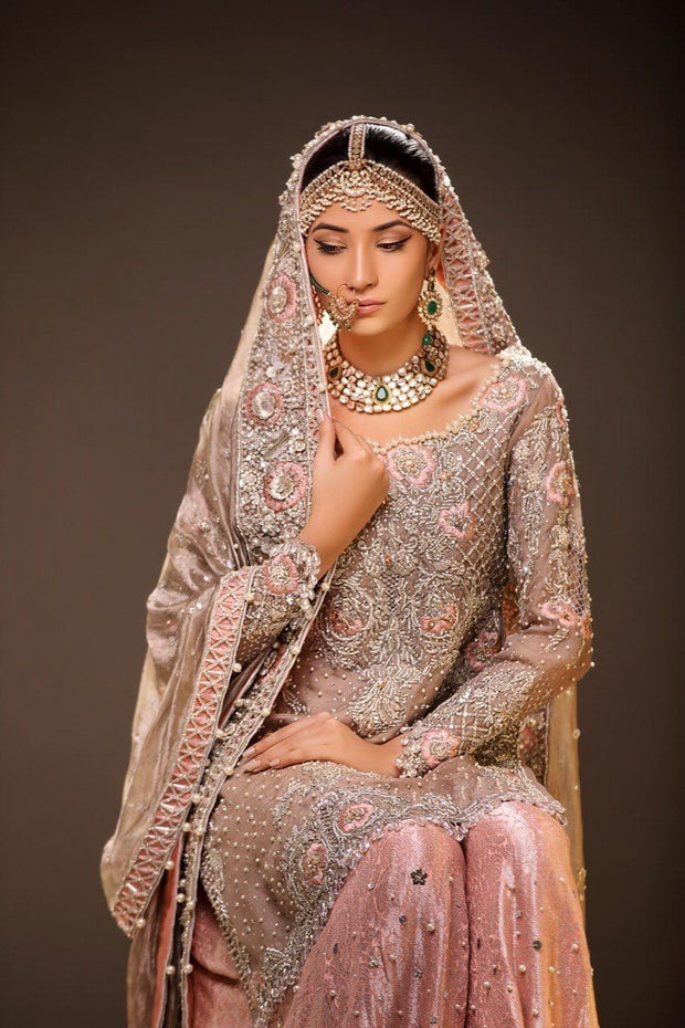 Beautiful embroidered bridal lehnga in gold and pink color # B3365
