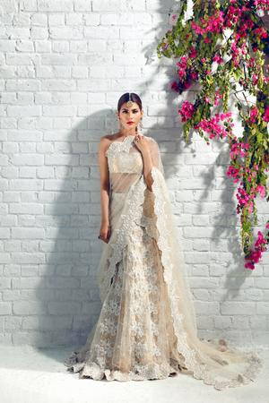 Latest designer embroidered bridal saree in lavish ivory color # B3448