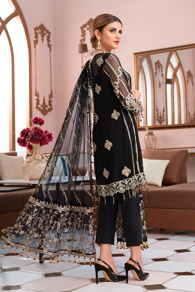 Pakistani designer embroidered chiffon outfit in black color # P2336