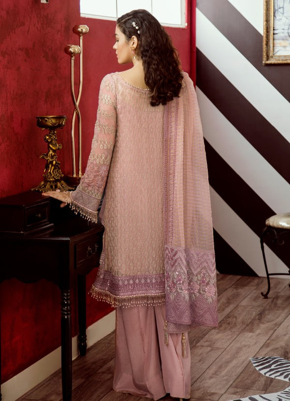Beautiful thread embroidered chiffon outfit in carnation pink color # P2318