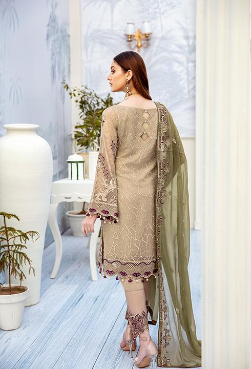 Latest embroidered chiffon outfit 2020 in skin and green color # P2515