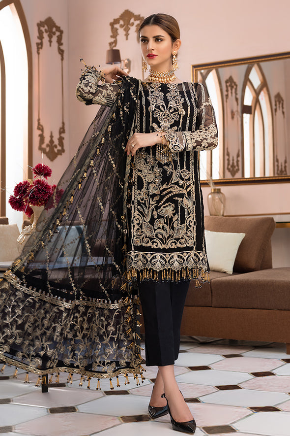 Pakistani designer embroidered chiffon outfit in black color