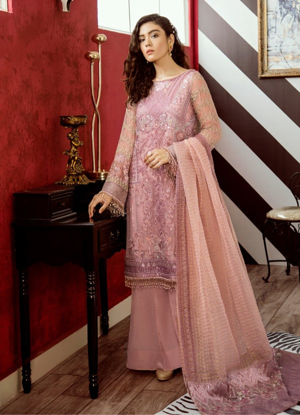 Beautiful thread embroidered chiffon outfit in carnation pink color