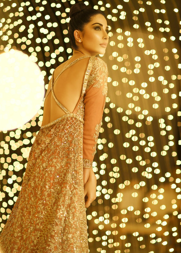 Embroidered gown in peach color with golden embroidered work # B3373