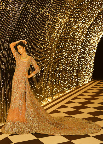 Embroidered gown in peach color with golden embroidered work