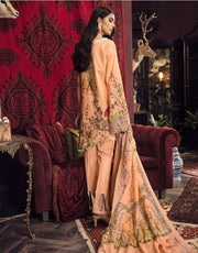Beautiful Pakistani embroidered linen dress in peach color # P2403