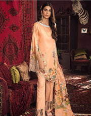 Beautiful Pakistani embroidered linen dress in peach color