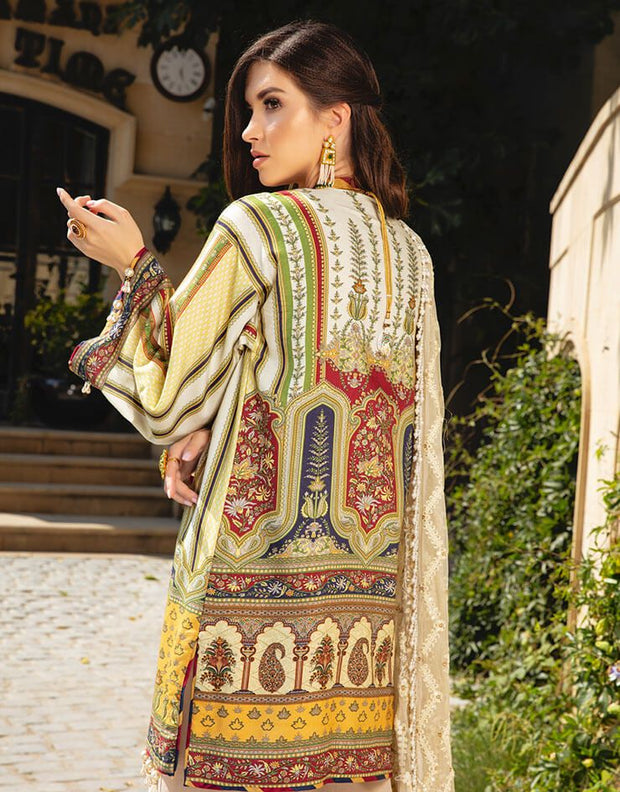 Beautiful Pakistani embroidered linen outfit in skin color # P2403