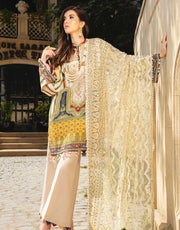 Beautiful Pakistani embroidered linen outfit in skin color