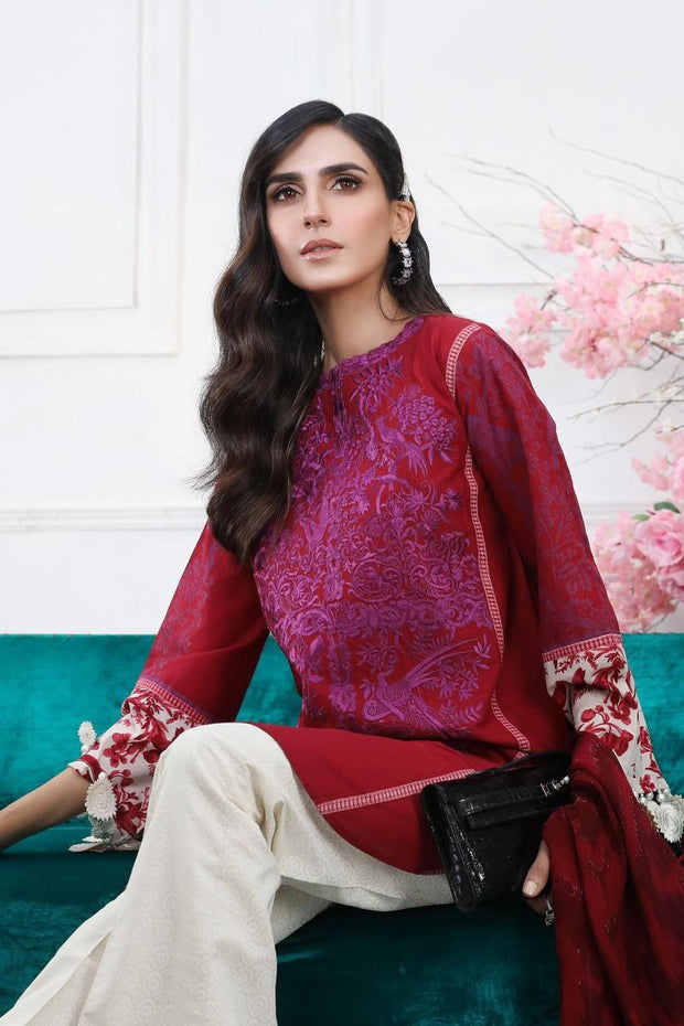 Pakistani embroidered slub dress for casual wear in red color # P2393
