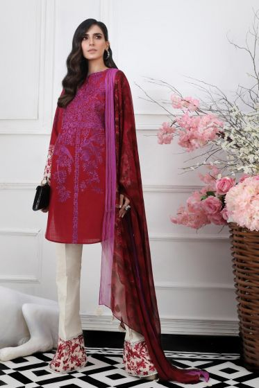Pakistani embroidered slub dress for casual wear in red color
