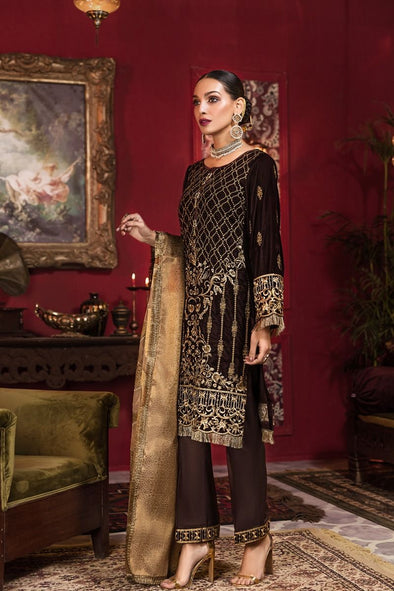 Beautiful Pakistani embroidered velvet outfit in gold brown color