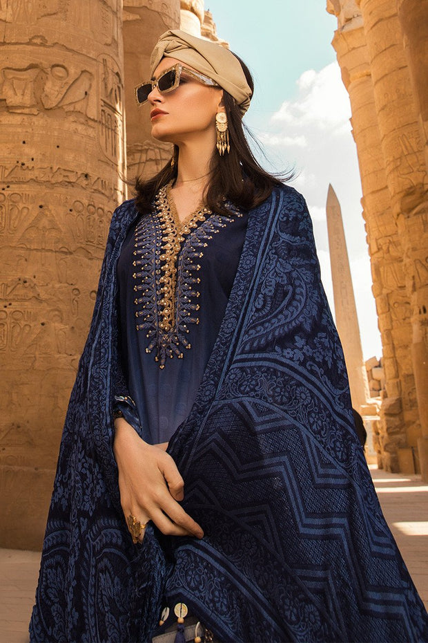 Latest Pakistani designer embroidered eid outfit in elegant blue color # E2212