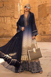 Latest Pakistani designer embroidered eid outfit in elegant blue color