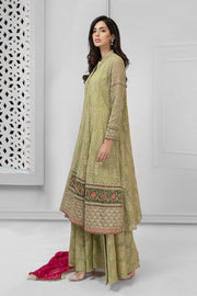 Latest Pakistani fancy chiffon dress for party in green color # P2238