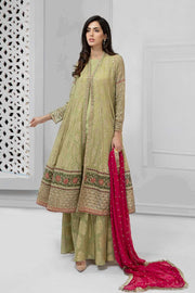 Latest Pakistani fancy chiffon dress for party in green color