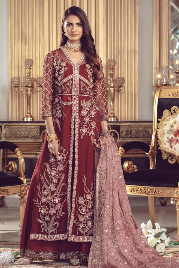 Chiffon embroidered Pakistani formal eid dress in maroon color