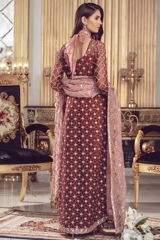 Chiffon embroidered Pakistani formal eid dress in maroon color # P2491