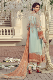 Pakistani embroidered formal eid outfit in green and peach color # P2497