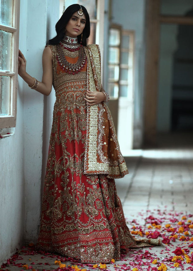 Latest beautiful formal wedding gown dress in rust and red color