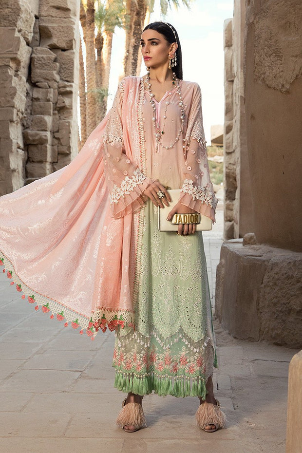 Pakistani embroidered formal eid dresses in pink and green color