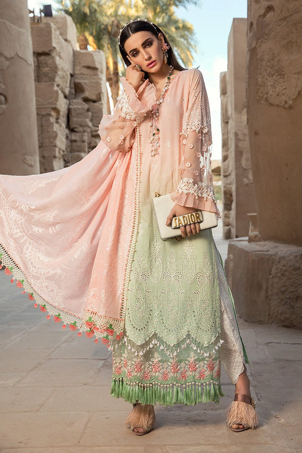 Pakistani embroidered formal eid dresses in pink and green color # E2202